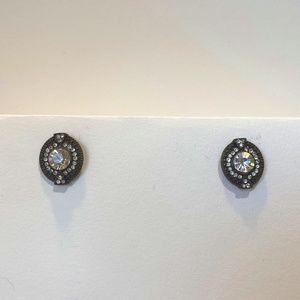 Black and Crystal Stud Earrings